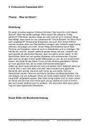3. Frühschicht Fastenzeit 2011 Thema: Was ist Glück? - Kath ...