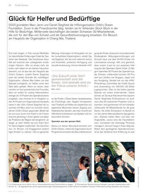 Credit Suisse Bulletin, November 2009 - Child's Dream