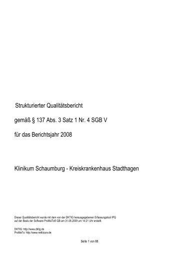 strukturierter Qualitätsbericht 2008 - Kliniken.de