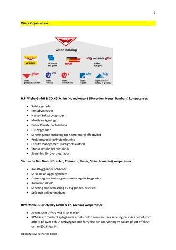 Enligt sammanställning från Wiebe/ITG (PDF) - Train Alliance