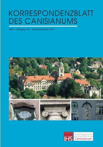 KORRESPONDENZBLATT DES CANISIANUMS