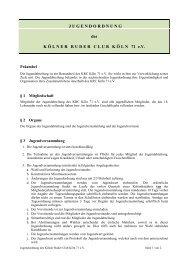 J U G E N D O R D N U N G des K Ö ... - Kölner Ruder Club Köln 71 eV