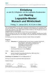 Einladung zum Hearing Logopädie-Master: Wunsch und Wirklichkeit