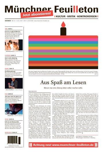 Münchner Feuilleton Ausgabe Oktober Nr. 12 13.10. - Strip Academy