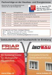 Fachvorträge an der Hausbau- und Energiemesse - Friap AG