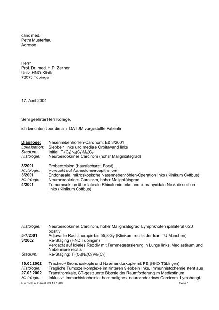 Candmed Petra Musterfrau Adresse Herrn Prof Dr Med Hp Zenner