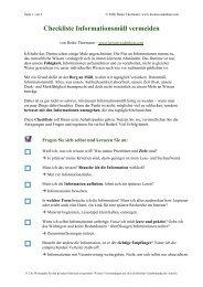 Checkliste Informationsmüll vermeiden - Kreativesdenken.com