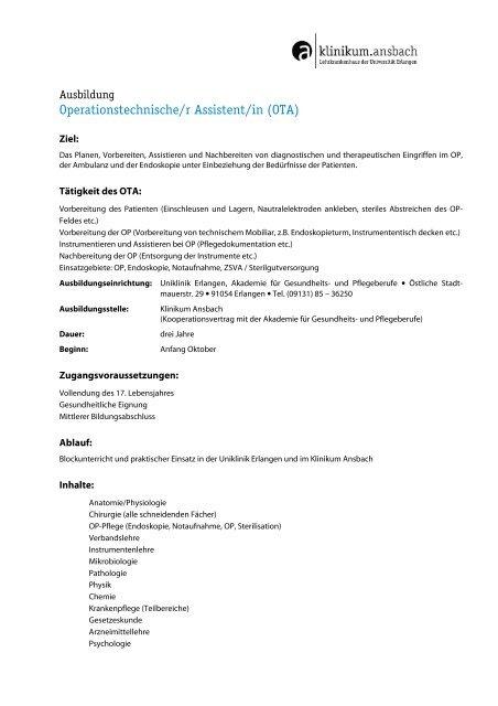 Bewerbungsmuster Operationstechn Assistent Kostenlos