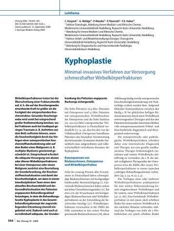 Kyphoplastie – ein minimal-invasives Verfahren ... - Klinikum Ansbach