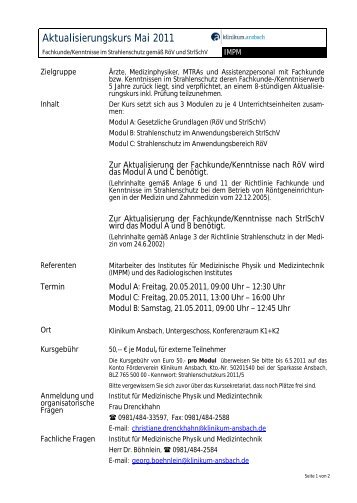 Aktualisierungskurs Mai 2011 - Klinikum Ansbach
