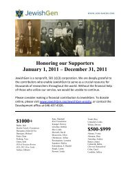 Honoring our Supporters January 1, 2011 – December ... - JewishGen