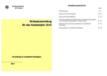 Richtsatzsammlung für das Kalenderjahr für das Kalenderjahr 2010