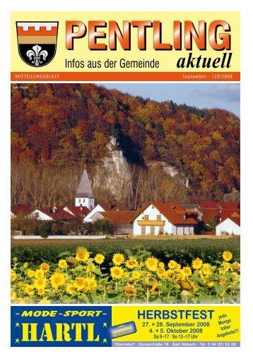 MITTEILUNGSBLATT September · 129/2008 - Pentling aktuell