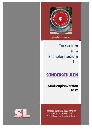 Studienplan Sonderschule - Pädagogische Hochschule Kärnten