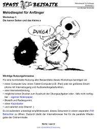 Workshop 01 - Melodiespiel für Anfänger - SPASS BEISAITE