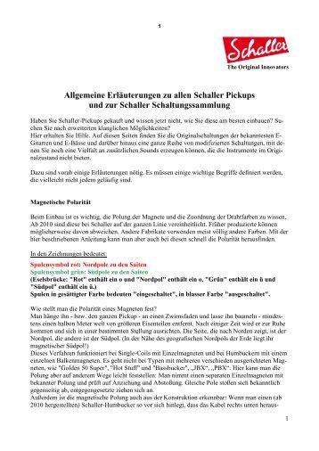 TA-EB Allgemeine Erklärungen für Schaller Pickups und