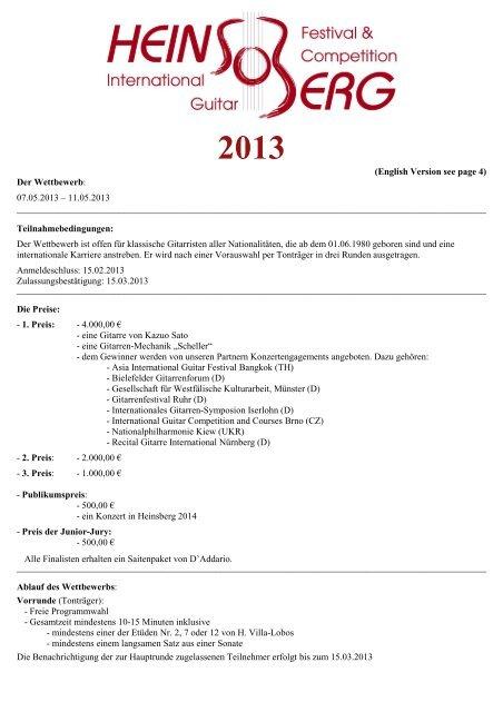 Ausschreibung (pdf) - Heinsberg International Guitar Festival and ...