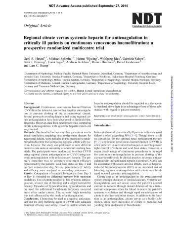 Regional citrate versus systemic heparin for anticoagulation in ...