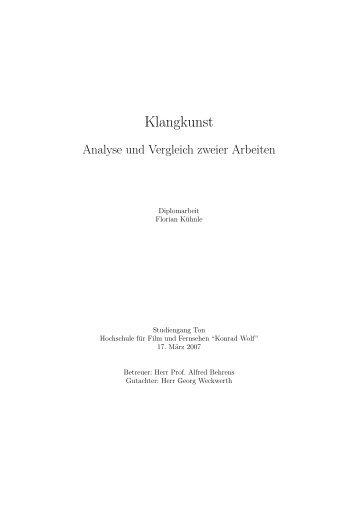 Klangkunst - Analyse und Vergleich zweier Arbeiten - LARIFON ...