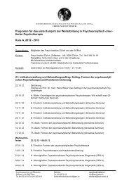 Detailprogramm des 1. Kursjahres 2012/2013 - Freud Institut Zürich