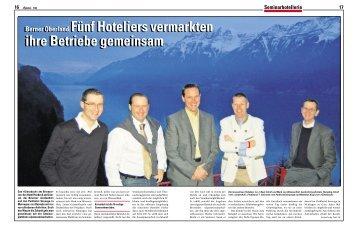 Berner Oberland:Fünf Hoteliers vermarkten ihre Betriebe ...