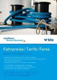 Fahrpreise / Tarifs / Fares - BLS