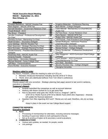 Executive Board Meeting Minutes 09/21/11 - tacac