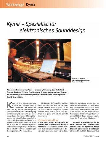 Kyma – Spezialist für elektronisches Sounddesign - Mathis Nitschke