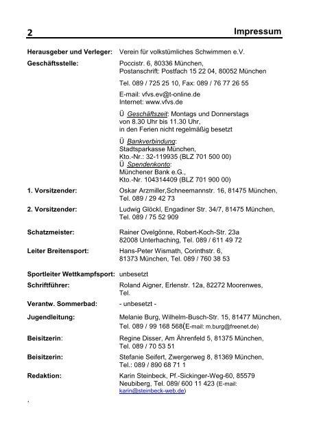 Impressum 2 Verein Fur Volkstumliches Schwimmen Munchen Ev