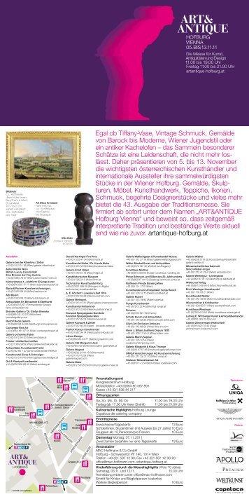 Flyer ART&ANTIQUE Hofburg Vienna 2011