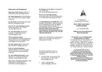 Das Symposium findet in diesem Jahr statt im: - Psychoanalyse und ...