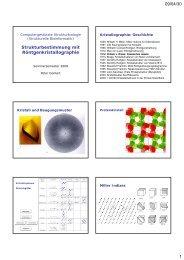 09/04/30 1 Strukturbestimmung mit Röntgenkristallographie g g p