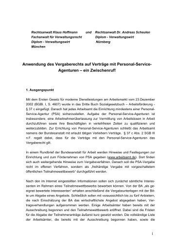 Keine Anwendung des EG-Vergaberechts auf das 20 vH-Kontingent ...