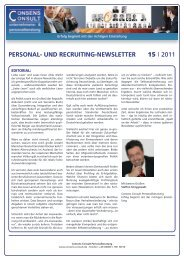 Personal- und recruiting-newsletter 15 I 2011 - Consens Consult
