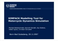 SIMPACK Modelling Tool for Motorcycle Dynamics Simulation