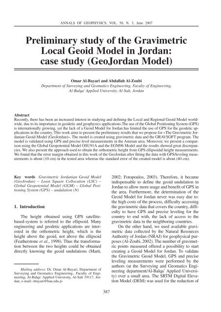 Preliminary study of the Gravimetric Local Geoid Model