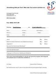Anmeldung bitte per Post / Mail oder Fax zurück schicken an: Fax ...