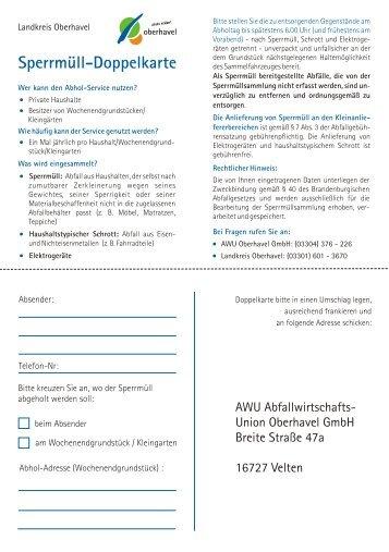 Sperrmüll-Doppelkarte - Landkreis Oberhavel