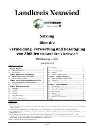Satzung über die Vermeidung, Verwertung und Beseitigung von