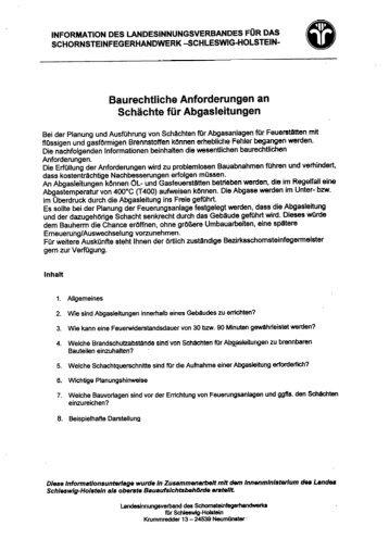 Schächte für Abgasleitungen - Kreis Stormarn