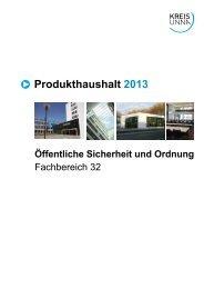 Produkthaushalt 2013 - Kreis Unna