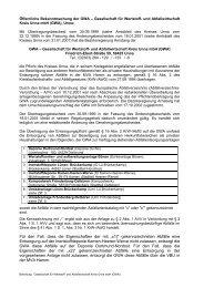 Öffentliche Bekanntmachung der GWA – Gesellschaft ... - Kreis Unna