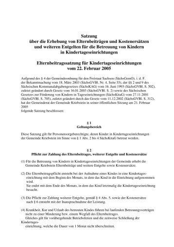Elternbeitragssatzung für Kitas vom 22. Februar 2005 mit