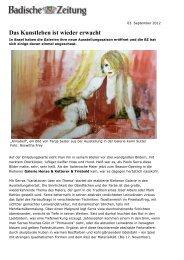 Das Kunstleben ist wieder erwacht - Galerie Karin Sutter