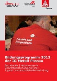 Bildungsprogramm 2012 der IG Metall Passau - Kritische Akademie