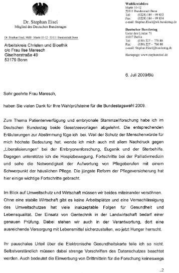 Antwort Dr. Stephan Eisel, MdB CDU, auf die - Kritische Bioethik ...