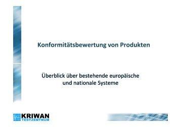 Konformitätsbewertung von Produkten - KRIWAN Testzentrum