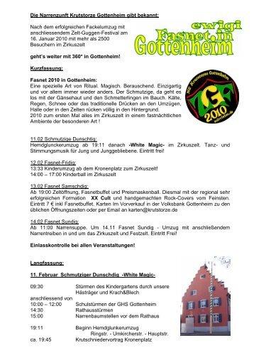 """Presse-Info """"ewigi Fasnet in Gottenheim 2010"""" - Narrenzunft ..."""