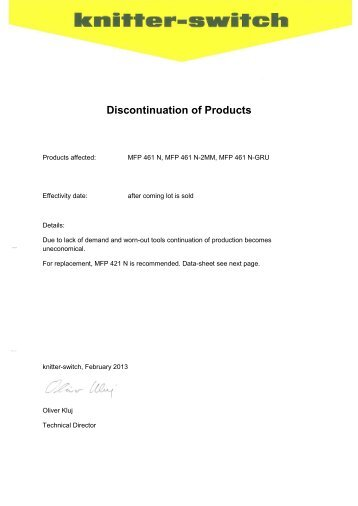 Discontinuation of Products - Knitter-Switch