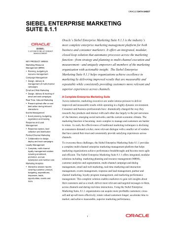 Siebel Enterprise Marketing Suite 8.1.1 - k.section.com